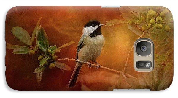 Autumn Day Chickadee Bird Art Galaxy S7 Case