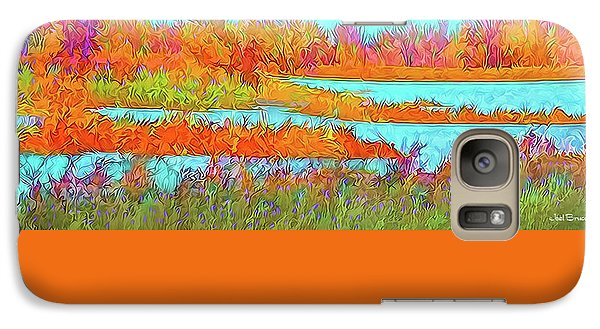 Galaxy Case featuring the digital art Autumn Grassy Meadow With Floating Lakes by Joel Bruce Wallach