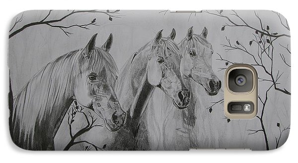 Galaxy Case featuring the drawing Autumn by Melita Safran