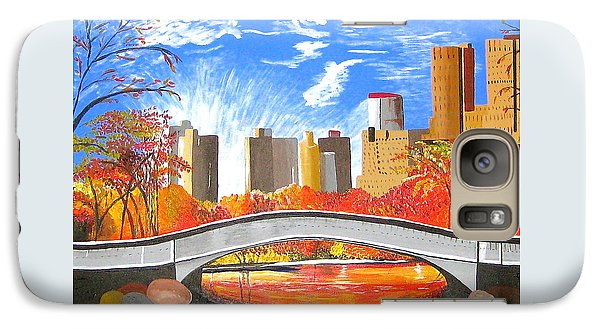 Galaxy Case featuring the painting Autumn Oasis by Donna Blossom