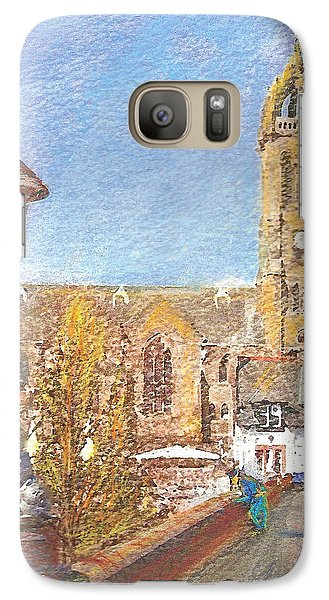 Galaxy Case featuring the painting Autumn View Along The Bridge Peebles by Richard James Digance