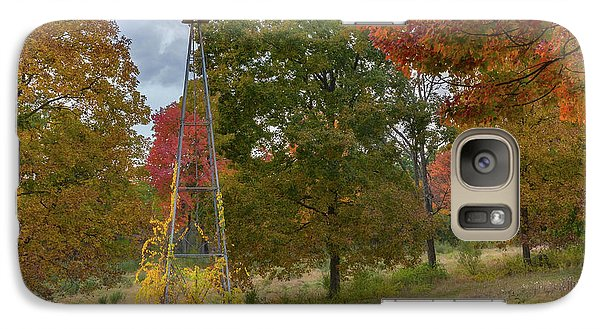 Galaxy S7 Case featuring the photograph Autumn Windmill Square by Bill Wakeley