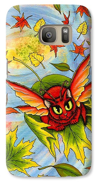 Galaxy Case featuring the painting Autumn Winds Fairy Cat by Carrie Hawks