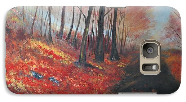 Galaxy Case featuring the painting Autumns Pathway by Leslie Allen