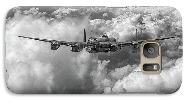 Galaxy Case featuring the photograph Avro Lancaster Above Clouds Bw Version by Gary Eason