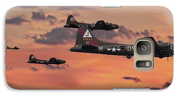 Galaxy Case featuring the digital art B17 - Sunset Home by Pat Speirs