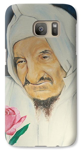 Galaxy Case featuring the painting Baba Sali With Rose by Miriam Leah