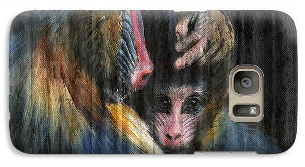 Galaxy Case featuring the painting Baboon Mother And Baby by David Stribbling