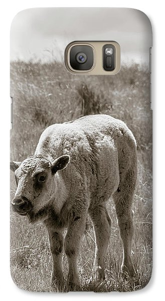 Galaxy Case featuring the photograph Baby Buffalo In Field With Sky by Rebecca Margraf