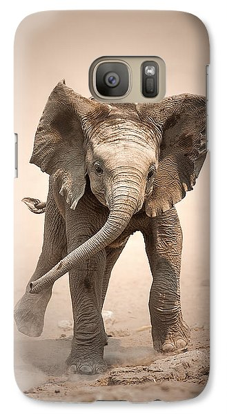 Cow Galaxy S7 Case - Baby Elephant Mock Charging by Johan Swanepoel
