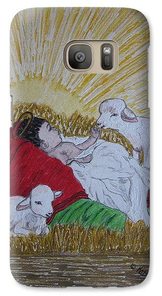 Galaxy Case featuring the painting Baby Jesus At Birth by Kathy Marrs Chandler