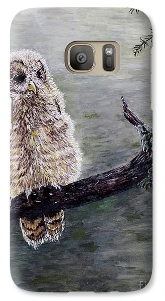 Galaxy Case featuring the painting Baby Owl by Judy Kirouac