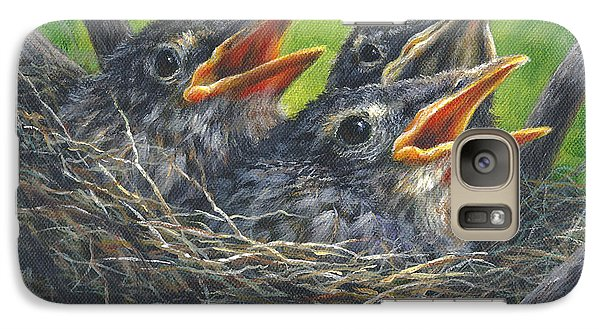 Galaxy Case featuring the painting Baby Robins by Kim Lockman