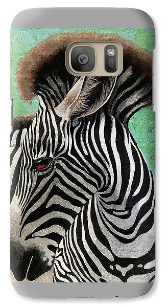 Galaxy Case featuring the painting Baby Zebra by Linda Apple