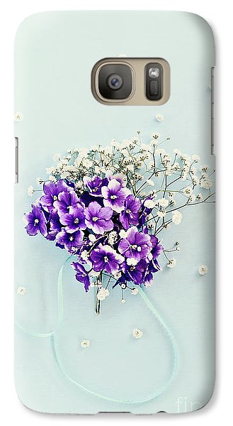 Galaxy Case featuring the photograph Baby's Breath And Violets Bouquet by Stephanie Frey