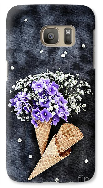 Galaxy Case featuring the photograph Baby's Breath And Violets Ice Cream Cones by Stephanie Frey