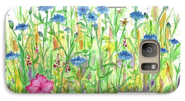 Galaxy Case featuring the painting Bachelor Button Meadow by Cathie Richardson