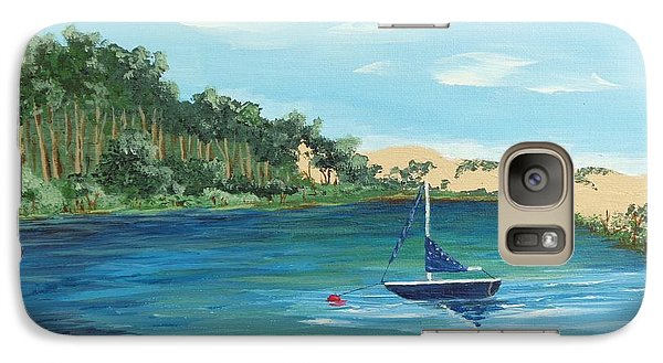 Galaxy Case featuring the painting Back Bay From Back Bay Inn Los Osos Ca by Katherine Young-Beck