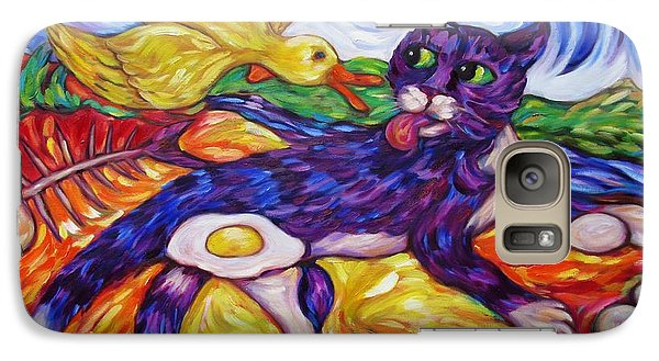 Galaxy Case featuring the painting Bad Kitty Gets Caught Again by Dianne  Connolly
