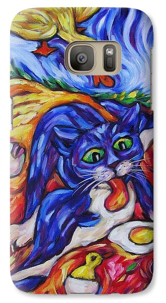 Galaxy Case featuring the painting Bad Kitty Gets Caught by Dianne  Connolly