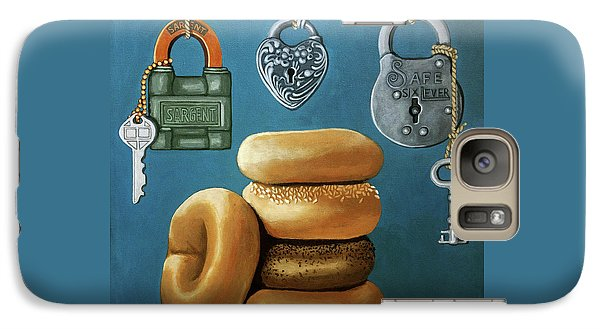 Galaxy Case featuring the painting Bagels And Locks by Linda Apple