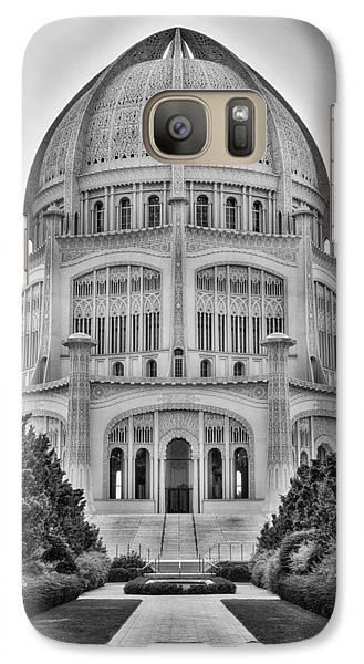 Galaxy Case featuring the photograph Baha'i Temple - Wilmette - Illinois - Vertical Black And White by Photography  By Sai