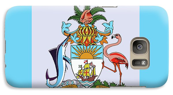 Galaxy Case featuring the drawing Bahamas Coat Of Arms by Movie Poster Prints