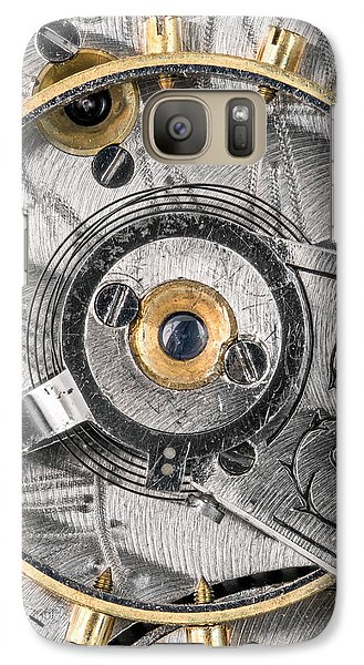 Galaxy Case featuring the photograph Balance Wheel Of An Antique Pocketwatch by Jim Hughes