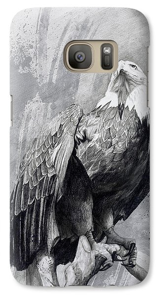 Galaxy Case featuring the drawing Bald Eagle Drawing by Steve Goad