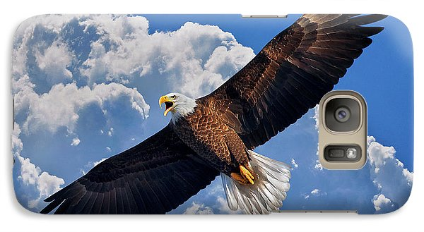 Galaxy Case featuring the photograph Bald Eagle In Flight Calling Out by Justin Kelefas