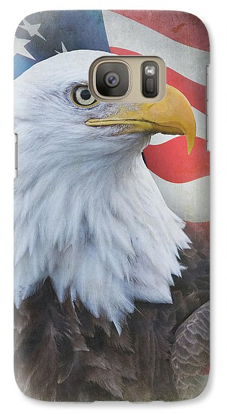 Galaxy Case featuring the photograph Bald Eagle With American Flag by Angie Vogel