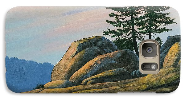 Galaxy Case featuring the painting Bald Rock At Sunset by Frank Wilson