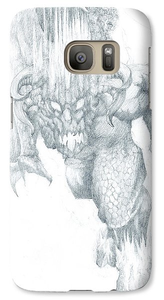 Galaxy Case featuring the drawing Balrog Sketch by Curtiss Shaffer