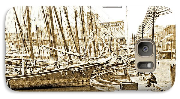 Galaxy Case featuring the photograph Baltimore Harbor 1900 Vintage Photograph by A Gurmankin