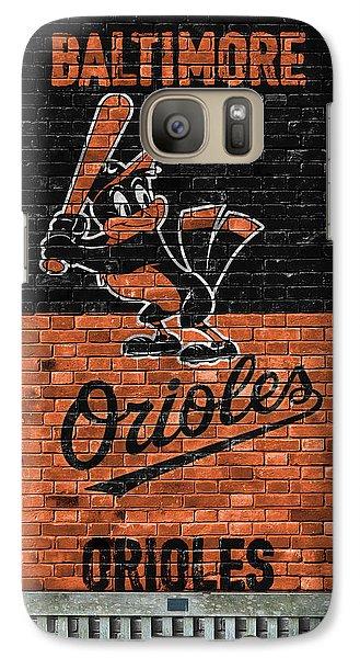 Oriole Galaxy S7 Case - Baltimore Orioles Brick Wall by Joe Hamilton