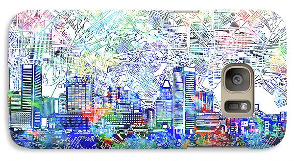 Galaxy Case featuring the painting Baltimore Skyline Watercolor 10 by Bekim Art