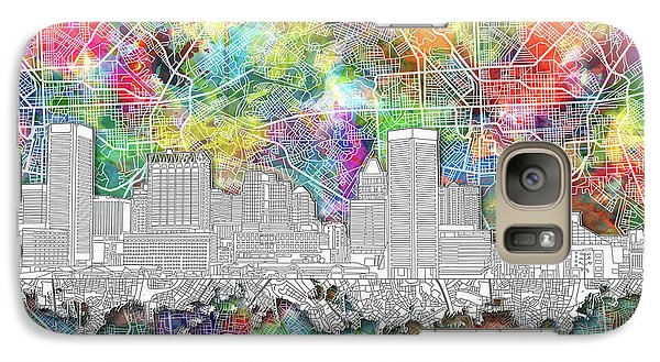 Galaxy Case featuring the painting Baltimore Skyline Watercolor 12 by Bekim Art
