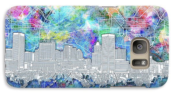 Galaxy Case featuring the painting Baltimore Skyline Watercolor 14 by Bekim Art