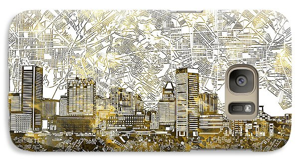 Galaxy Case featuring the painting Baltimore Skyline Watercolor 8 by Bekim Art