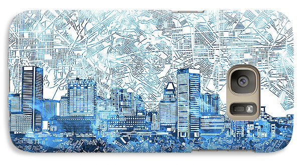 Galaxy Case featuring the painting Baltimore Skyline Watercolor 9 by Bekim Art