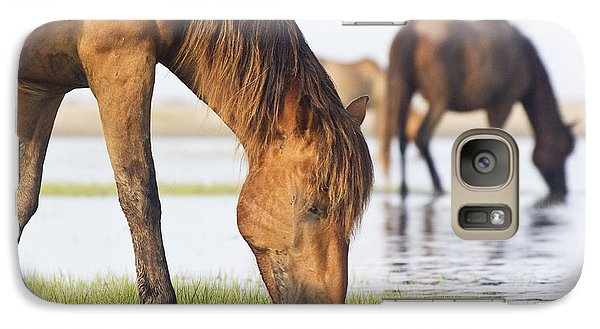 Galaxy Case featuring the photograph Banker Horses On Tidal Flat by Bob Decker