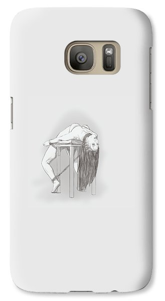 Galaxy Case featuring the mixed media Bar Chair Bw by TortureLord Art