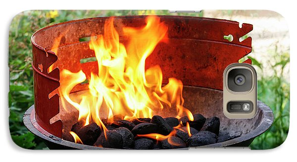 Galaxy Case featuring the photograph Barbecue With Flames by Patricia Hofmeester