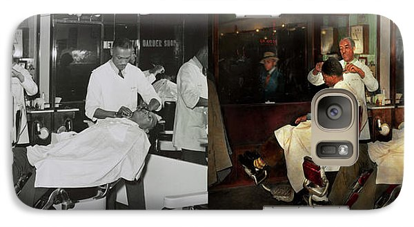 Galaxy Case featuring the photograph Barber - A Time Honored Tradition 1941 - Side By Side by Mike Savad
