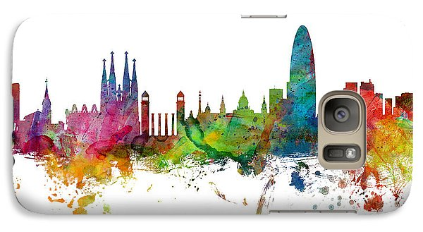 Barcelona Spain Skyline Panoramic Galaxy Case by Michael Tompsett