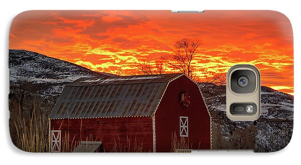 Galaxy Case featuring the photograph Barn Burner Sunset. by Johnny Adolphson