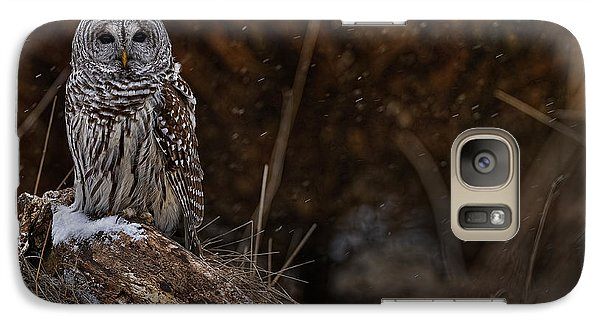 Galaxy Case featuring the photograph Barred Owl On Log by Michael Cummings