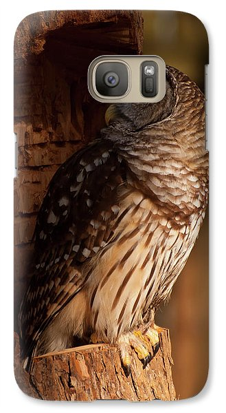 Galaxy Case featuring the digital art Barred Owl Sleeping In A Tree by Chris Flees