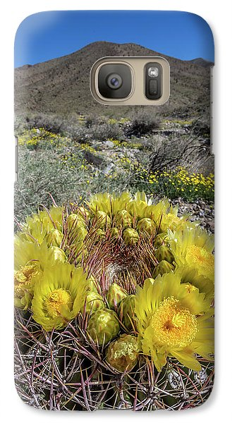 Galaxy Case featuring the photograph Barrel Cactus Super Bloom by Peter Tellone