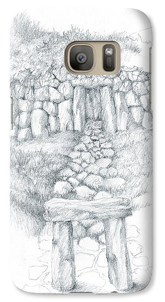 Galaxy Case featuring the drawing Barrow Tomb by Curtiss Shaffer